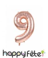 Ballon chiffre rose métallisé, 36 cm, image 10
