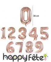 Ballon chiffre rose métallisé, 36 cm