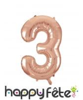 Ballon chiffre rose métallisé de 86cm, image 4