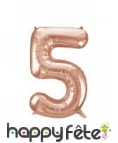 Ballon chiffre rose métallisé de 86cm, image 6