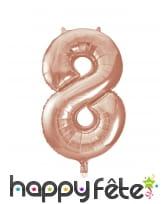 Ballon chiffre rose métallisé de 86cm, image 9