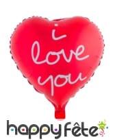Ballon coeur rouge I love you de 52cm