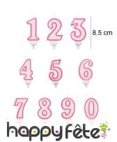 Bougie chiffre rose de 8,5 cm