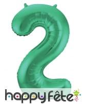 Ballon chiffre vert en aluminium de 86 cm, image 3