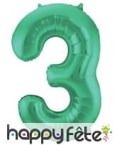 Ballon chiffre vert en aluminium de 86 cm, image 4