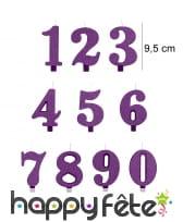 Bougie chiffre violette à paillettes de 9,5 cm