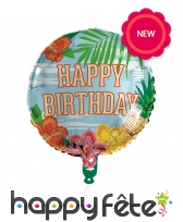 Ballon d'anniversaire rond métallisé hawai, 45cm, image 1