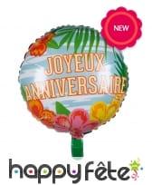 Ballon d'anniversaire rond métallisé hawai, 45cm, image 2