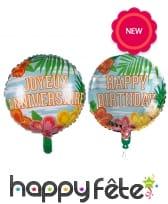 Ballon d'anniversaire rond métallisé hawai, 45cm