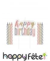 Bougies d'anniversaire colorées, happy birthday