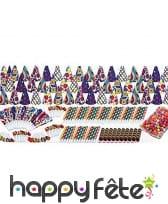 Boite de cotillons multicolores pour 50 personnes