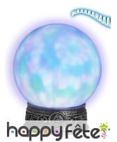 Boule de cristal lumineuse sur pied, 25cm