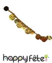 Bracelet de cheville doré avec pièces