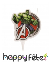 Bougie de Hulk avec logo Avengers, 7,5cm
