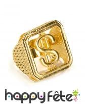 Bague dorée imprimé dollars