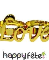 Bague dorée Love pour deux doigts