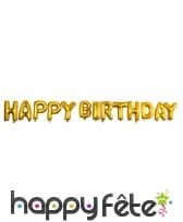 Ballons de lettres Happy Birthday dorés, image 1