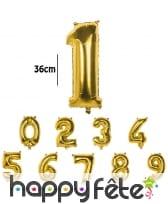 Ballon doré métallisé en forme de chiffre
