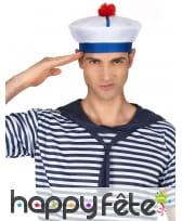 Bonnet de marin blanc bleu pompon rouge, image 2