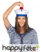 Bonnet de marin blanc bleu pompon rouge, image 3