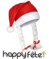 Bonnet de mère Noël avec deux tresses