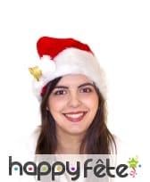 Bonnet de Noël en peluche avec clochette