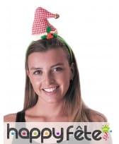 Bonnet de Noël et houx sur serre tête