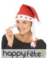 Bonnet de noël lumineux avec tresses blanches, image 1