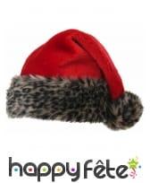 Bonnet de Noel peluche léopard