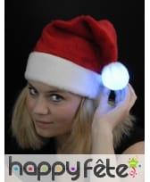 Bonnet de Noël rouge avec pompom lumineux, image 1