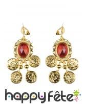 Boucles d'oreille dorées orientales, pierre rouge, image 1