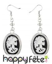 Boucles d'oreille squelette camées noir et blanc