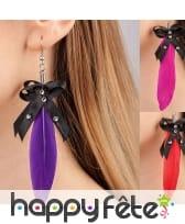 Boucles d'oreilles avec plume adulte