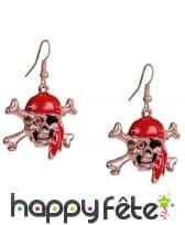 Boucles d'oreilles de pirate, tête de mort