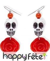 Boucles d'oreilles Dia de los muertos rose rouge