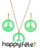 Boucles d'oreilles et collier peace and love, image 1