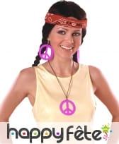 Boucles d'oreilles et collier peace and love, image 4