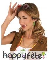 Boucles d'oreilles et collier vert peace and love, image 1