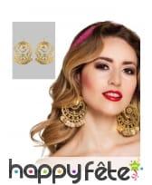 Boucles d'oreilles orientales dorées