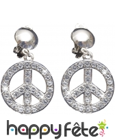 Boucles d'oreilles symbole peace and love strass