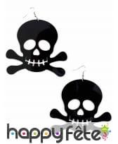 Boucles d'oreilles symbole pirate noir