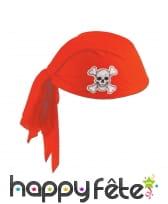Bandana de pirate rouge tête de mort