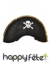 Bicorne de pirate noir motif tête de mort, image 1