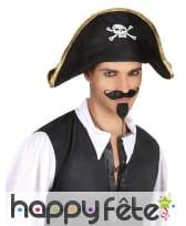 Bicorne de pirate noir motif tête de mort, image 2