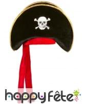 Bicorne de pirate pour adulte rouge et noir, image 1