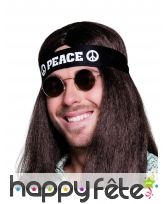Bandeau de tête noir Peace