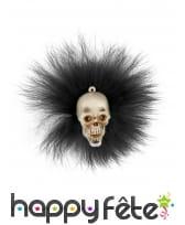 Broche de tête crâne avec plumettes noires