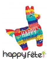 Ballon en forme de lama Happy Birthday, 73 x 83 cm