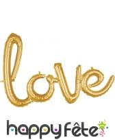 Ballon en forme du mot Love doré, 78cm