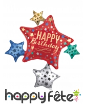 Ballon étoiles happy birthday coloré, 81 x 88 cm